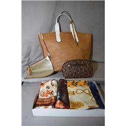 Italian made Innue leather tote, twenty silk scarves and a small Italian Bonia wristlet