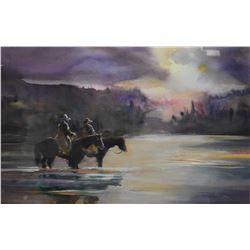 "Framed original watercolour painting ""Power & The Glory"" signed by artist Graham Flatt, 17"" X 23"""