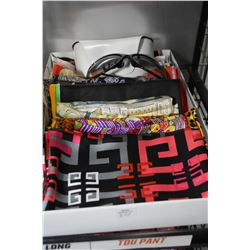 Fifteen silk scarves and a pair of Dolce & Gabbana sunglasses with case
