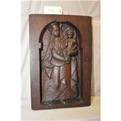 Antique hand carved Madonna and child wall plaque purportedly from a church in Northern Belgium circ