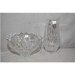 """Two pieces of quality crystal including a 10"""" high cut crystal vase and a bowl"""