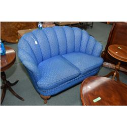 """Small 53"""" antique channel back upholstered settee"""