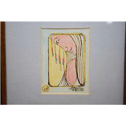 "Three framed original artworks including oil pastel titled on verso ""Sunshine Bay"", 9"" X 12"", a wate"