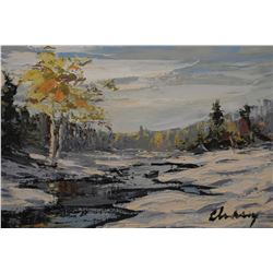 """Framed oil on canvas painting of a winter landscape, signed by artist Chasey (?), 12"""" X 15"""""""