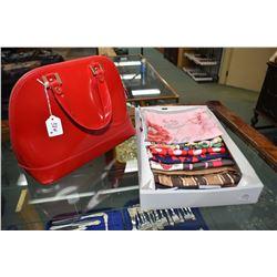Vintage Italian made Alberta Di Canio leather handbag and fifteen silk scarves