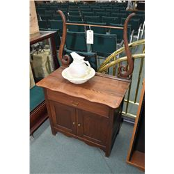 Antique Canadiana harp back washstand and a McCoy Pottery USA basin and water pitcher