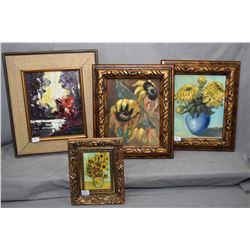 Four original framed paintings including two oil on board still-lifes both signed by artist Carusse