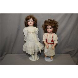 """Two antique dolls including Armand Marseille 390, 18"""" doll with bisque head, sleep eyes and fur eyeb"""