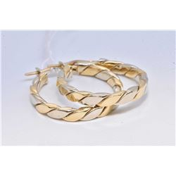 Ladies 14kt yellow and white gold hoop earrings