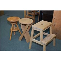 Primitive style step stool, adjustable piano style stool and a folding oak stool