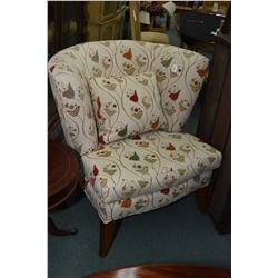Modern oversized wing back upholstered parlour chair with matching cushion
