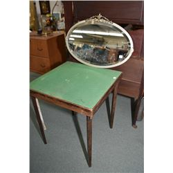 "Vintage metal framed bevelled mirror, overall dimensions 28"" X 19"" and a vintage wooden folding card"
