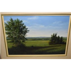 Framed acrylic on board painting of a prairie scene with distant cityscape, possible Edmonton, signe
