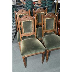 Set of four antique dining chairs with upholstered seat and back pad and Nouveau influenced carved b