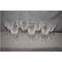 "Twelve Waterford ""Lismore"" crystal claret glasses"
