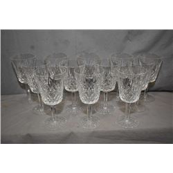 "Twelve Waterford ""Lismore"" crystal white wine glasses"