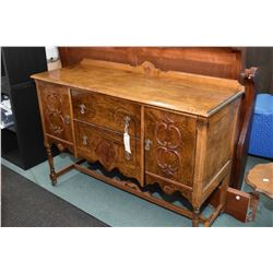 Depression era, two door, two drawer sideboard with low backboard