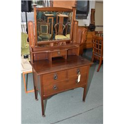 Adorable antique mahogany Nouveau influenced, four drawer dresser with bevelled swing mirror, inlaid