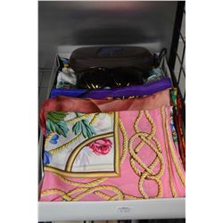 Fifteen silk scarves, various designers and a pair of Maui Jim sunglasses with case