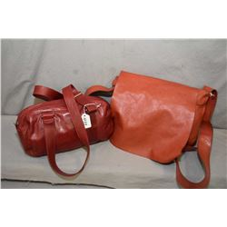 Two vintage M0851 designer bags including leather satchel and a zippered purse
