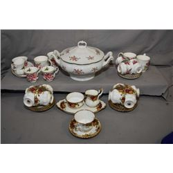 Selection of Royal Albert china including nine Old Country Roses teacups and saucers plus cream and