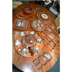 Selection of mid century Danish design tableware including cheese board and knife, salad bowls, serv