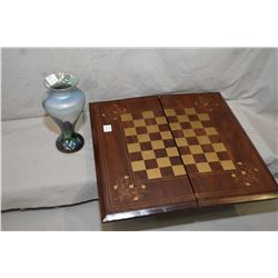 Vintage brass inlaid chess/ checker with game pieces storage and backgammon interior and a signed 7