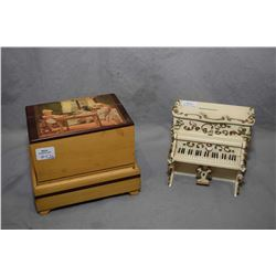 Vintage farm motif wooden music box and a piano motif musical bank