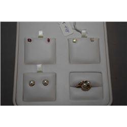 Selection of ladies gold jewellery including three pairs of 10kt gold earrings including pearl, opal