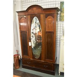 Antique Sheraton wardrobe with inlaid panels and banding, singled door with oval bevelled mirror and