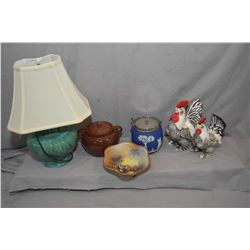 Selection of collectibles including nut motif Noritake bowl, Wedgwood Jasperware biscuit barrel, Red