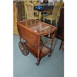 Vintage walnut drop leaf tea trolley with removable drinks tray