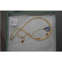 "Selection of ladies gold jewellery including vintage 16"" graduated pearl necklace with 10kt gold saf"