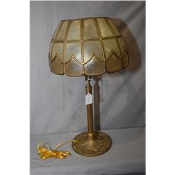 "Art Nouveau gold finish table lamp marked BK, rewired with leaded mica shade, 21"" in height"