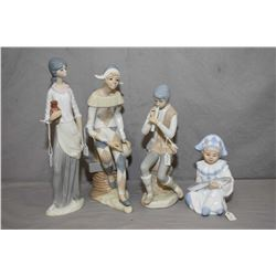 Four Spanish made Casade pottery figurines including two musicians, harlequin and a maiden with jug