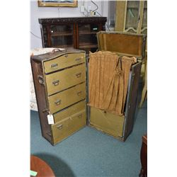 Antique wardrobe steamer trunk fitted with drawers and hangers and removable vanity case and origina