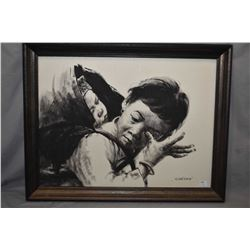 "Framed original acrylic on board of a young girl carrying her brother signed by artist Manson, 18"" X"