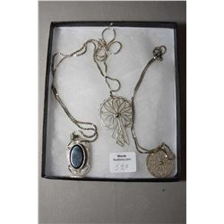 "Tray lot of sterling jewellery including 28"" box chain and pendant, silver filigree pendant on 16"" b"
