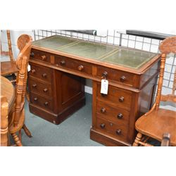 Victorian mahogany double pedestal writing desk with leather inset top, appears to be original finis