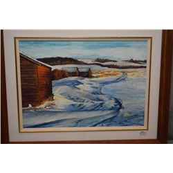 "Framed oil on board painting titled on verso ""Alberta Winter"" signed by Edmonton born artist Marilyn"