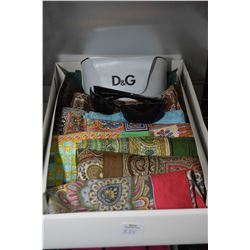 Ten Liberty of London silk scarves and a pair of Dolce & Gabana sunglasses with case