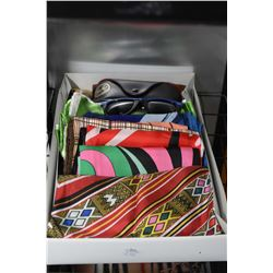 Twenty geometric and abstract scarves and a pair of Ray Ban sunglasses with case