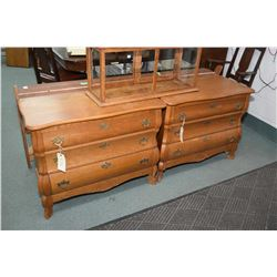 Pair of matching oak three drawer curved front night table