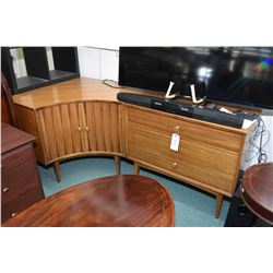 Two part mid century modern mahogany credenza including two door corner cabinet and three drawer sid