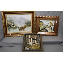 Three framed original paintings including acrylic on board Oriental fishing boat and village scene 1