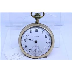 Waltham 15 jewel pocket watch in gold plated and engraved watch case, working at time of cataloguing