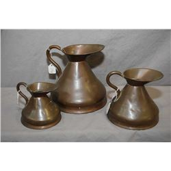 Set of three hand made Georgian heavy copper measuring cans including quart, pint and half-pint, cir