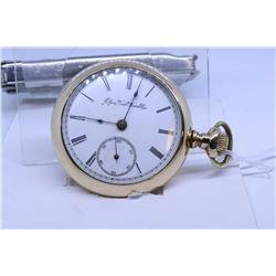 "Elgin ""18"" size pocket watch, 11 jewel, grade 10, model 3, serial #1577988, dates to 1885, full gilt"