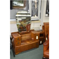 English walnut drop vanity with original lithographed sliding glazed door section plus a similar sty