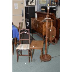 Three pieces of vintage furniture including a side chair, small table and a wooden floor lamp